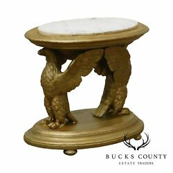 Antique Gilt Wood Carved Winged Eagle Small Marble Top Side Table