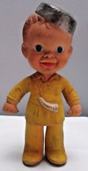 Vintage 1950 Era Squeaker Toy Rempel Rubber Pioneer Boy 7 Inches Tall