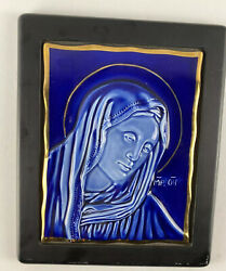 Replica Of Byzantin Icon Virgin Mary Made Of Porcelain And Gold Bavaria Gemany