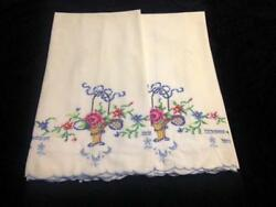 Pair Of Vintage White And Multicolored Embroidered Pillowcases