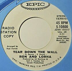 Ron and Lorna Tear Down the Wall DJ Pop Soul EX 45 7quot; Vinyl Extras Ship Free