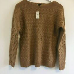 NWT Talbots Wool Blend Camel Tan Cable-knit Sweater- Women's Petite Small