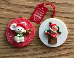 2 Vtg Hallmark Christmas Trimmer Ornaments ~ Mouse with Bell Jack-in-the-Box