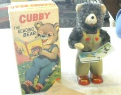 Rare Old Vintage Alps Wind Up Reading Bear Working Condition W/box 1950and039s