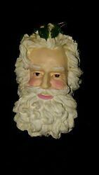 Vintage Heavy Resin Beautifully Painted Father Christmas Head Ornament