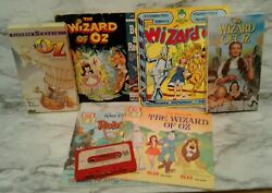 Wizard Of Oz Lot 45 Rpm Childrens Records Ray Bolger And Disney Audio Cassette Vhs