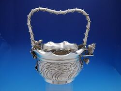 Number 41 By Meriden Silverplate Basket With Squirrel With Applied Roses 4504