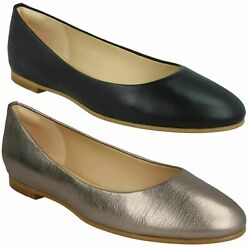 Grace Piper Ladies Clarks Slip On Leather Ballerina Flat Dress Casual Pumps Size
