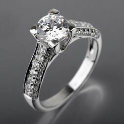 DIAMOND ROUND RING 18K WHITE GOLD SIDE STONES VVS AUTHENTIC WOMEN 1.94 CT