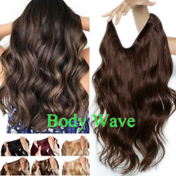 Russian Thick Wire In Remy Human Hair Extensions Hidden Headband Halos Body Wave