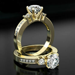 2.35 CARAT ROUND DIAMOND W SIDE STONES CERTIFIED18K YELLOW GOLD WOMEN RING SI1