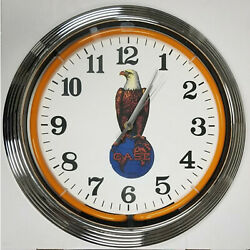 Case Eagle Tractor Old Abe Neon Clock 15 Inch Wall Clock