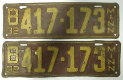 Vintage 1932 Minnesota License Plate Tag B 417-173 Matching Number Pair Antique