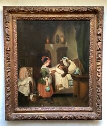 Rare French Naive Antique Oil Painting Little Red Riding Hood The Wolf Signed