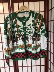 Hand-Knit Winter Deer Ugly Christmas Sweater Raphels Womens Medium Teachers Gift