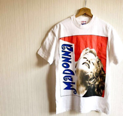 MADONNA Big Face Print Official T-shirt 90s Vintage White M Size USA Made Hanes