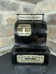 Antique 1935 Uncle Sam's 3 Coin Register Bank Durable Toy And Novelty Corp Usa