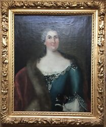 18th Century Antique Oil Painting Portrait Woman Dog Louis Xv Hyacinthe Rigaud