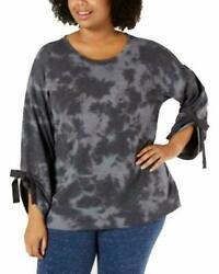 Ideology Womens Plus Tie-dyed Crewneck Tie Sleeve Top Charcoal Gray Size 3x New