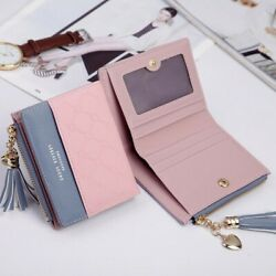 Pink Cute Women Coin Bag Case Leather Wallet Simple Bifold Tassel Small Purse US $7.89