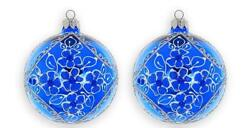 D Handmade And Mouth Blown Blue Ornament Christmas Tree Decoration Balls 2-pc