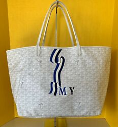Goyard St Louis White Tote Bag GM with Banierre Design Monogram $1935 Plus Extra
