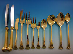 Onslow Gold Stainless Steel by Oxford Hall Flatware Set Service 168 Pieces