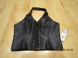 New Wilsons Leather Women's Black Leather Vest Corset Lace Up Front Zip Up Back $41.95
