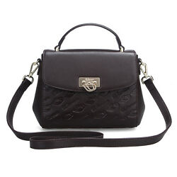 Uscarmen Logo Embossed Small Top Handle Leather Satchel 1611 Brown Womenand039s
