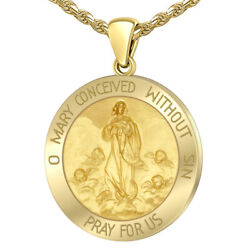 Ladies 14k Yellow Gold Miraculous Mother Mary Round Pendant Necklace 2 Sizes