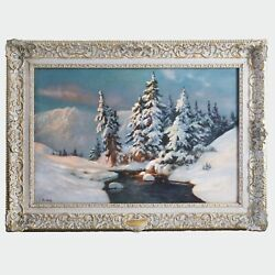 Antique O/c Painting Signed E.barkoff Winter Landscape