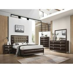 4pc Contemporary Style Bedroom Furniture Dark Merlot Finish Queen Size Bed Set