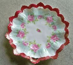 Antique Serving Dish Pink Roses Made In Austria Stamped 795 Porcelain Mz