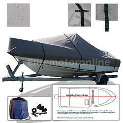 Deluxe V-hull Cuddy Cabin Cruiser Trailerable Boat Cover Fits 21and039-22.5and039l Grey