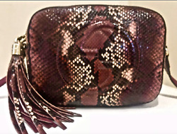 Gucci Python Purse Handbag Soho Disco Red SHOULDER BAG Crossbody Designer