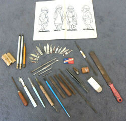 Vintage Wood Hand Carving Etching Tools Knive Used Plan Old Man Figure Props Yv