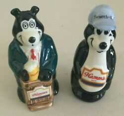 2 Hamms Beer Porcelain Figurines, Made By Wade Mickey 1997 And Seattle 1996.