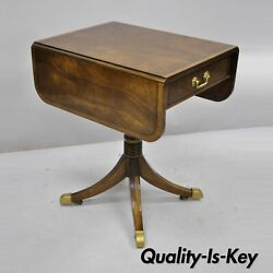 Vintage Mahogany Banded And Inlaid Drop Leaf Pembroke Lamp Side Table