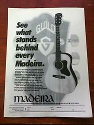 1982 Vintage 8x11 Print Ad For What Stands Behind Madeira Guild Acoustic Guitars
