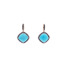 Fashion Cocktail Amazonite And 1.50 Tcw Champagne Diamond Earring New