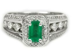 2.22tcw Emerald Cut Colombian Emerald - Cut And Diamond Engagement Ring 14k Gold