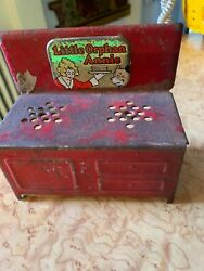 Vintage Antique 1930s Little Orphan Annie Tin Metal Red Stove Toy Doll House B44