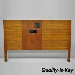 Vintage Mid Century Modern Full Size Walnut And Tile Inlay Bed Headboard