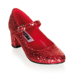 Funtasma SCHOOLGIRL-50G Women's Shoes Red Glitter Mary Jane Block Heeled