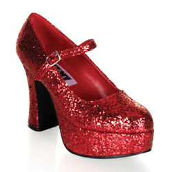 Funtasma MARYJANE-50G Women's Red Glitter Chunky Heels Platform Mary Jane Pumps