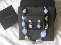 David Yurman Chalcedony Silver Diamond Necklace And Earrings New Dy Box And Pouch