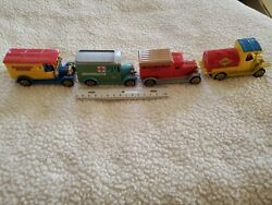 Lot Of 4 Antique Advertising Toy Cars Trucks New York Times Sunoco Gas Oils