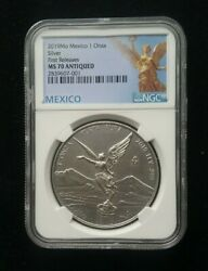 2019 Mexico 1 Oz Silver Libertad Ngc Ms70 Antiqued - 1st Release -1000 Mintage