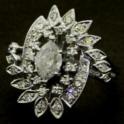 Antique Diamond Marquise Center Engagement Cluster Cocktail Ring 14k White Gold