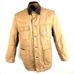 Lucky Brand Workwear Mens Jacket Flannel Lined Corduroy Collar Brown Size Large
